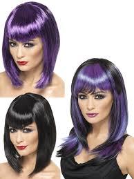 ladies vampire witch wig straight fringe womens halloween fancy
