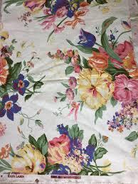 vintage ralph lauren fabric remnant home decor large floral print