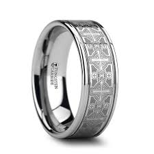 ring engraving deacon flat grooved tungsten ring with engraved intricate cross