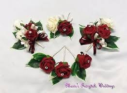 Burgundy Roses Wedding Flowers Buttonhole Corsage Package Burgundy Roses Diamante