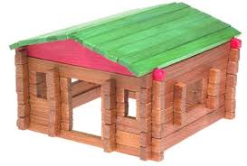 Lincoln Log Homes Floor Plans Amazon Com Classic Log Cabin Playset In Canister 140 Pcs 20001