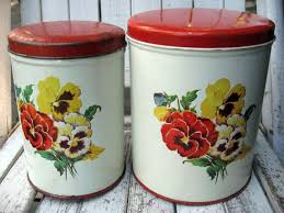 vintage metal kitchen canisters with pansies farmhouse kitchen