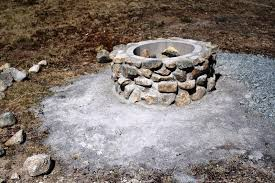 Fire Pit Rocks by Backyard Fire Pit Rocks With Concrete Home Fireplaces Firepits