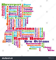 Maps Of Louisiana Word Cloud Map Louisiana State Stock Vector 100165373 Shutterstock