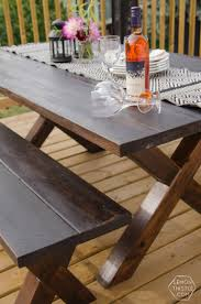 Patio Table Wood Diy X Leg Patio Table With Pipe Trestle Lemon Thistle