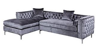 Velvet Sectional Sofa Amazon Com Iconic Home Da Vinci Tufted Silver Trim Grey Velvet