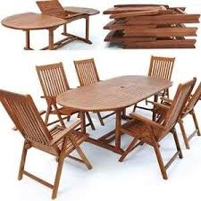Patio Wooden Chairs Dining Set Outdoor Table 6 Chairs Garden Furniture Patio Wooden