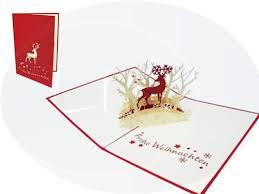 pop up christmas card reindeer in forest lin pop up 3d