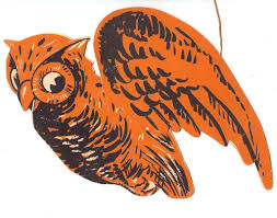flying owl 3 d halloween decoration u2013 gibson art co usa 1930s