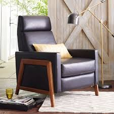 spencer wood framed leather recliner west elm