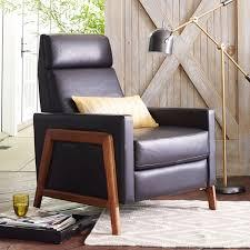 wood framed spencer wood framed leather recliner west elm