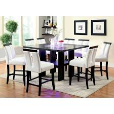 High Dining Room Table Set by Furniture Of America Lumina 9 Piece Light Up Counter Height Dining