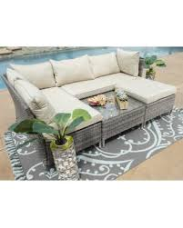 Conversation Sets Patio Furniture by Save Your Pennies Deals On Grey Cushioned 4 Piece Patio