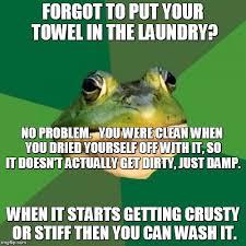 Towel Meme - foul bachelor frog meme imgflip