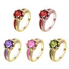 gold coloured rings images Engagement rings cubic zirconia rings luxurious red jewelry jpg