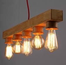Bar Light Fixture 5 Heads Wooden Pendant Light Edison Bulb L Nordic Country Bar