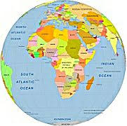africa map color africa centered color globe with countries