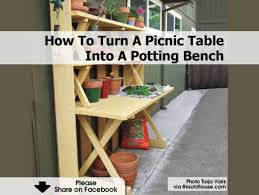 how to turn a picnic table into a potting bench