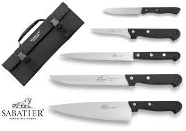 sabatier knife bag with 5 kitchen knives 100 french