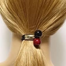 hair elastics a set of 2 sleek decorated ponytail holders hair elastics ebay