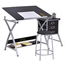 Art Studio Desk by Black Pink Adjustable Drafting Table Drawing Desk W Stool Art