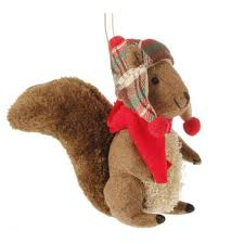6 squirrel with plaid hat ornament