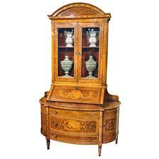 Bombe Secretary Desk by 19th Century Italian Walnut Bombe Secretary Bookcase With