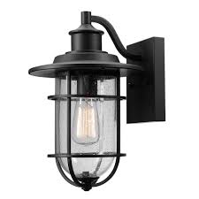 Outdoor Sconces Home Depot Globe Electric Turner 1 Light Black And Seeded Glass Outdoor Wall