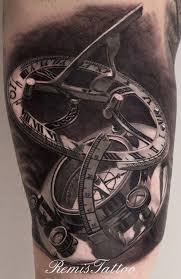 clock designs compass clock tattoos