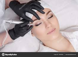 professional permanent makeup professional cosmetologist wearing black gloves permanent