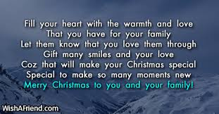 fill your with the warmth message for family