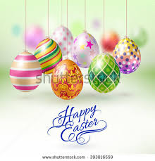 easter egg ornaments colorful easter eggs hanging on string stock vector 264705875
