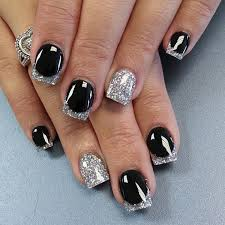 70 ideas of french manicure silver nail plain black and silver