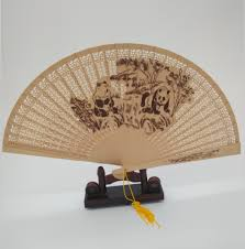 sandalwood fans wooden folding fans hollow carved peacock