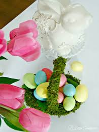 Easter Basket Table Decorations by Diy Moss Basket For An Easter Table