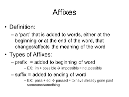 Types Meaning Affixes Definition Types Of Affixes Ppt Download