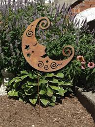 rustic moon garden stake or wall hanging lawn ornaments garden