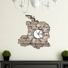 pag sticker 3d wall clock decals breaking cracking wall sticker