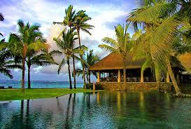 beach tropical bungalows emerald grass ocean pool sea bungalow