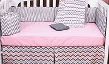 pink and gray traditions 3piece crib bedding set carousel designs