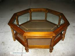 Vintage Glass Top Coffee Table Vintage Modern Octagon Glass Coffee Table Mid Century
