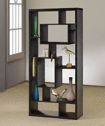 Modern Bookcase Furniture by Black Finish Modern Bookcase W Shelves U0026 Display Space