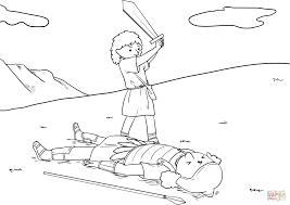 david cut off goliath u0027s head with the sword coloring page free