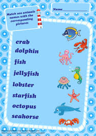 sea animals vocabulary worksheets for kids ocean match animals