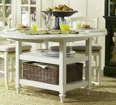round white drop leaf dining table for small space with two shelf