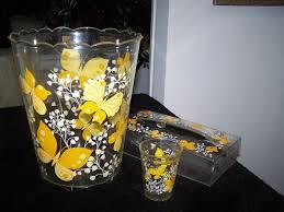 Yellow Wastebasket Vtg Retro Lucite Acrylic Waste Basket Yellow Butterflies Flowers