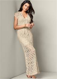 crochet maxi dress in venus
