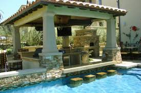 remarkable stone accents enhancing the cool pool with bar equipped