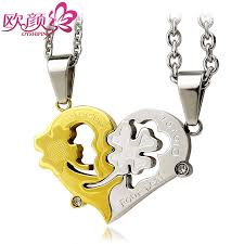 puzzle heart pendant necklace images Ouyan couples necklaces four leaf clover heart puzzle necklaces jpg