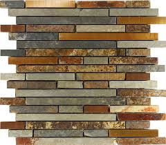 Kitchen Backsplash Tile Pictures by 10sf Rustic Copper Linear Natural Slate Blend Mosaic Tile Kitchen